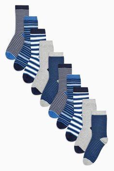 Blue Stripe Socks Ten Pack (Older Boys)