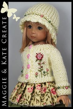 """Cream, Green & Pink Outfit for Little Darlings Effner 13"""" Maggie & Kate Create"""