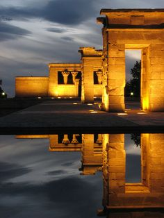 Egyptian temple Templo de Debod. 200 BC. rebuilt in Madrid, Spain in 1972. Originally south of Aswan, Egypt. Adikhalamani (Tabriqo), the Kushite king of Meroë, started its construction.