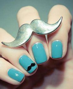 #oje #blue #nails #nailpolish #moustache #ring