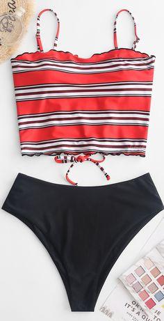 Striped Lettuce Trim Lace Up Tankini Swimsuit Summer Bathing Suits Lace Lettuce striped Swimsuit tankini Trim Bathing Suits For Teens, Summer Bathing Suits, Swimsuits For Teens, Cute Bathing Suits, Summer Suits, Cute Swimsuits, Women Swimsuits, Vintage Bathing Suits, Bikini Outfits