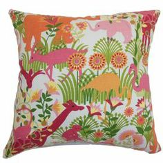 "Cotton throw pillow with a floral motif.  Product: PillowConstruction Material: Cotton cover and down fillColor: Bubblegum and multiFeatures:  Insert includedZipper closureMade in the USA Dimensions: 18"" x 18""Cleaning and Care: Spot clean"
