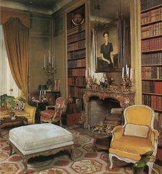 British Royal families prefer needlepoint rugs for their private homes even when they are living in Paris as in this elegant library in the Duke and Duchess of Windsor's Paris home. It was decorated by the famous decorating firm Maison Jansen who later de