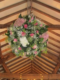 flower ball using country flowers such as hydrangea and gypsophila