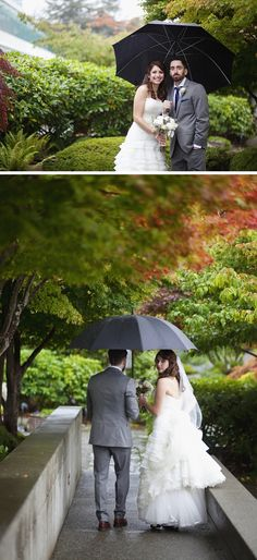 Love umbrellas! Rainy Inn at Laurel Point Wedding by Kim Kalyn Photography on BorrowedandBleu.com