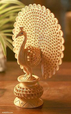 Hand Carved Jali Style Wood Peacock Sculpture India - Peacock Pose | NOVICA