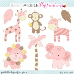 Pink Baby Safari Clipart - JW Illustrations