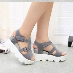 Platform Shoes 2016 Summer Peep-toe Leather Gladiator Sandals Elevator Shoes Women Wedge Cross-tied Skidproof Zapatillas Shoes