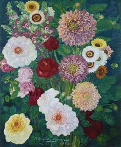 Hermenegildo Anglada-Camarasa, Dahlias and other Flowers, 1951. Oil on canvas Dark Green Background, Dutch Golden Age, Paris Pictures, Different Seasons, European Paintings, Old Master, Green Backgrounds, Indian Art, Art History