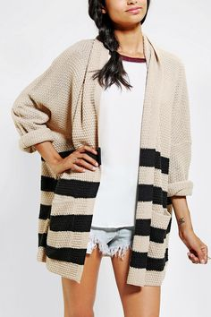 BDG Rolled-Sleeve Open Cardigan. Just got this and I am so obsessed with it already.