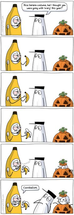 Halloween Banana by Loading Artist. OMG I didnt even notice Jes coming out of the pumpkin until I read it again XD