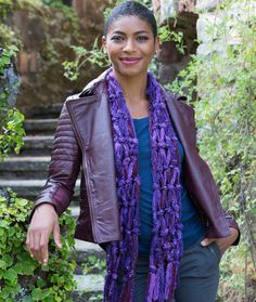 Knotted Fringe Scarf Free DIY Craft Pattern from Red Heart Yarns