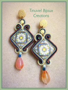 Soutache earrings with sicilian lava ceramic