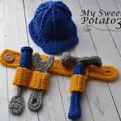 Construction Set Tool Belt Hard Hat – Hammer, Wrench, Screwdriver – Crochet Pattern – Awesome Knitting Ideas and Newest Knitting Models Crochet Unique, Cute Crochet, Crochet Crafts, Yarn Crafts, Crochet Projects, Crochet For Boys, Double Crochet, Single Crochet, Crochet Amigurumi