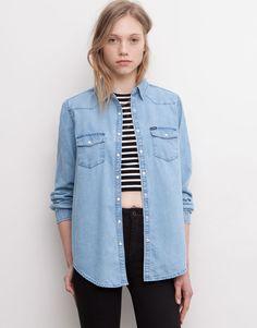 Pull&Bear - mujer - blusas y camisas - camisa vaquera básica manga larga - azul clar - 05472341-I2015