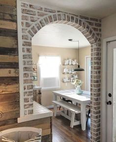 s 12 stunning ways to get that exposed brick look in your home, Grab a piece of lumber for a faux brick arch Fake Brick Wall, Brick Wall Kitchen, Faux Brick Backsplash, Kitchen Backsplash, Faux Brick Panels, Brick Paneling, Brick Walls, Brick Accent Walls, Faux Murs