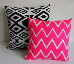 Will not go with my red couch, still want... Truly Outrageous - organic chevron screen printed pillow, neon pink. $28.00, via Etsy.