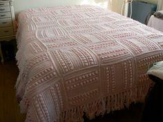 Vintage Pink Crocheted Afghan/Blanket/Bedspread. $60.00, via Etsy.
