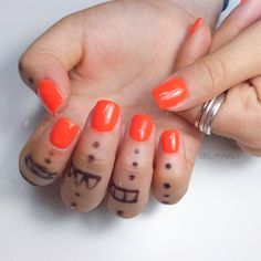 Orange nails | square nails | short nails design Short Nail Designs, Orange Nails, Square Nails, Short Nails, Nails Design, Nail Hacks, Orange Nail