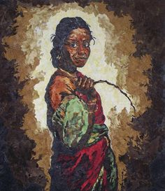 """""""Woman With A Coconut,"""" Mihira Karra [Inspired by Illayayja's painting of a South Indian woman. Free-hand sketched and then """"painted"""" with tiny pieces of fabric.]"""