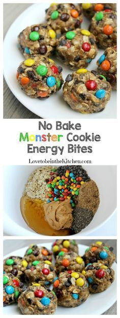 Bake Monster Cookie Energy Bites No Bake Monster Cookie Energy Bites- Packed full of healthy energy boosting ingredients!No Bake Monster Cookie Energy Bites- Packed full of healthy energy boosting ingredients! Healthy Desserts, Delicious Desserts, Dessert Recipes, Yummy Food, Tasty, Kid Recipes, Healthy Drinks, Kids Healthy Snacks, Recipies