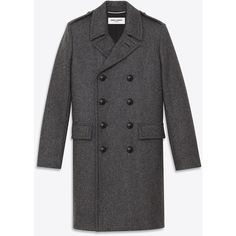 Saint Laurent Classic Caban Coat In Dark Anthracite Wool ($2,350) ❤ liked on Polyvore featuring men's fashion, men's clothing, men's outerwear, men's coats, anthracite, mens wool coat, mens double breasted coat, mens double breasted wool coat and mens wool outerwear