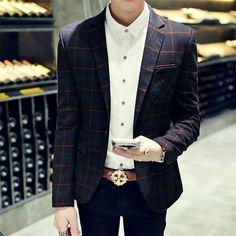 New arrival Men suit blazers masculino mens suit jacket blazer Square plaid Wool suit Slim fit man coats Trend Autumn
