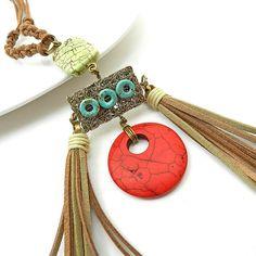 Tribal statement necklace  long tassel bib by osofreejewellery, $69.00