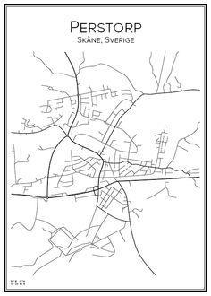 Perstorp. Skåne. Sverige. Map. City print. Print. Affisch. Tavla. Tryck. Stadskarta.