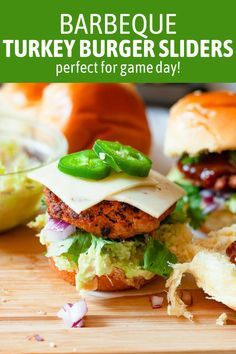 Barbecue Turkey Burger Sliders—smoky, spicy, turkey burgers made with chili powder, smoked paprika, and a rich barbecue sauce. They're perfect for any game day spread! #sliders #turkeyburgers #turkeyburgersliders #gamedayrecipes #gamedayfood Sweets Recipes, Drink Recipes, Real Food Recipes, Turkey Burger Sliders, Hamburgers, Quick Appetizers, Appetizer Recipes, Pulled Pork Nachos, Football Party Foods