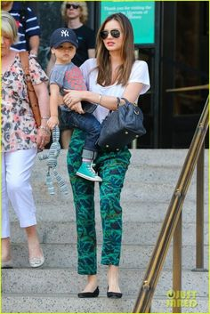 Miranda Kerr wearing  Givenchy Zipper Ballet Flats Bianca Spender Scallop Print Silk Crepe De Chine Soft Pants Louis Vuitton Speedy Bandouliere 25 Bag Isabel Marant Etoile Logan linen T-shirt  American Museum of Natural History September 11 2013