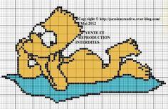 Bonjour, Avez-vous passé une bonne journée ??? Moi, j'ai encore couru... sans trop avancer (lol). Attention grille classée X : Cet incorrigible Bart Simpson a voulu profiter du soleil (il se fait tellement rare) et s'est précipité pour aller à la plage....
