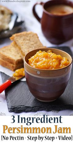 Learn how to make the best homemade persimmon jam with 3 ingredients. No pectin added. Visit the blo Persimmon Cake Recipe, Persimmon Recipes, Persimmon Bread, Jelly Recipes, Jam Recipes, Canning Recipes, Vegan Recipes, Jam And Jelly, Marmalade