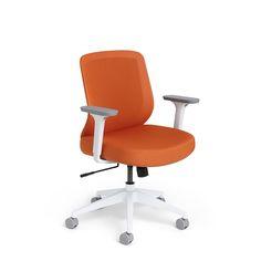 Orange Max Task Chair, Mid Back, White Frame,Orange