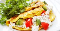 Omeletti on helppo valmistaa ja maistuu aina. Cottage Cheese, Omelette, Caprese Salad, Avocado, Sandwiches, Tacos, Low Carb, Vegetarian, Chicken