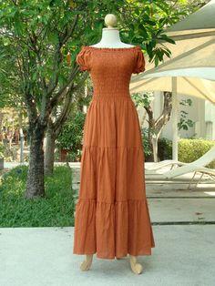 Off The Shoulder Dress /  Pumpkin Orange Maxi Dress  by idea2wear, $50.00