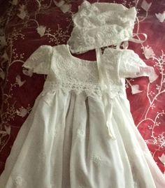 Baby Baptism Dress Long Soft Milk White Linen And Lace And
