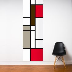 """Covering entire walls with wallpaper is rather passé. Instead, the current trend is to apply only a single strip, or a piece of wall mural—such as this masterful reference to Mondrian in this case—to give your room a more dramatic or exciting feel.""  Hmmm...interesting idea.  Must start looking at the left over wall paper at the thrift stores."