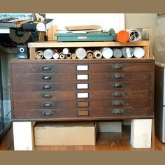 Flat Files Antique Oak Architect Artist Flat Files by Chandeluse, $500.00