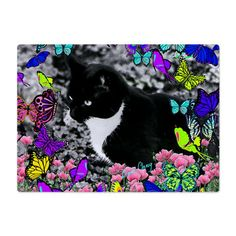 Freckles the Tux Cat in Butterflies Glass Cutting Board #sold - he is off to Massachusetts ... this is our state