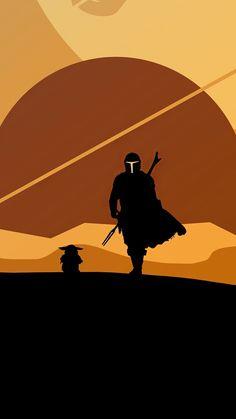 2020, The Mandalorian and Yoda, minimal, silhouette, artwork, 1440x2560 wallpaper