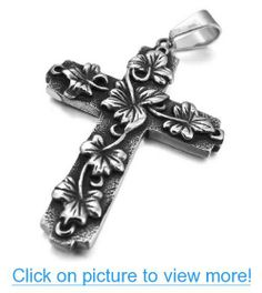 JBlue Jewelry Men's Stainless Steel Pendant Necklace Silver Black Flower Cross Vintage-with 23 inch Chain (with Gift Bag) #JBlue #Jewelry #Mens #Stainless #Steel #Pendant #Necklace #Silver #Black #Flower #Cross #Vintage_with #inch #Chain #Gift #Bag