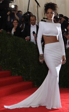 Rihanna in a stunning white Stella McCartney creation at the 2014 Met Gala held at the Metropolitan Museum of Art in New York City on May 5, 2014