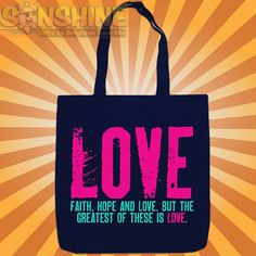 "New Faith, Hope, "" LOVE "" CHRISTIAN TOTE ~ KERUSSO 100% CANVAS BOOK BAG SHOPPING 