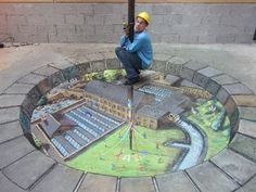 Creative Chalk Art in the Streets by Julian Beever & More. Incredible images drawn on the streets using chalk. The Chalk Art seems to jump out of the ground. Amazing and Creative Chalk Illusion Art. 3d Street Art, 3d Street Painting, Amazing Street Art, Street Art Graffiti, Amazing Art, 3d Painting, Awesome, Floor Painting, Amazing Things