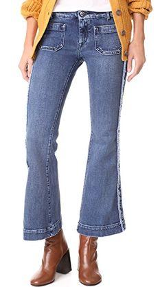 Seafarer Cropped Penelope Flare Jeans In Total Vintage Seafarer, Fringe Trim, Flare Jeans, Bell Bottom Jeans, Zip, Legs, Denim, Cotton, Pants