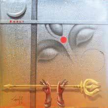 Green acrylic-oil Painting by Gopal Chowdhury on Canvas, Figurative based on theme Gopal Chowdhury. Religious Paintings, Indian Art Paintings, Budha Painting, Goddess Art, Durga Goddess, Happy Navratri Images, Indian Illustration, Free Hand Rangoli Design, Canvas Art