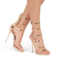 Shimmer at stylish events in these mirrored leather sandals. Each of the upper straps features a buckle adjuster for the perfect fit, while a back zip makes light work of slipping in and out of this stunning design.