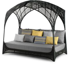 The collection has you cradled under a vaulted canopy that arcs overhead like a tropical cathedral. Intricately woven by hand, the HAGIA daybed is available in outdoor and indoor models. Indoor is offered in brown due to it's natural buri and rattan materials.This may be purchased on ecofirstart.com