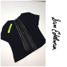 """Sam Edelman black crop Photo 1 is the back of this top so the back panel is sheer front of top is not - 19"""" in length such a cute structured top would look fab with high waisted pants or shorts Sam Edelman Tops"""